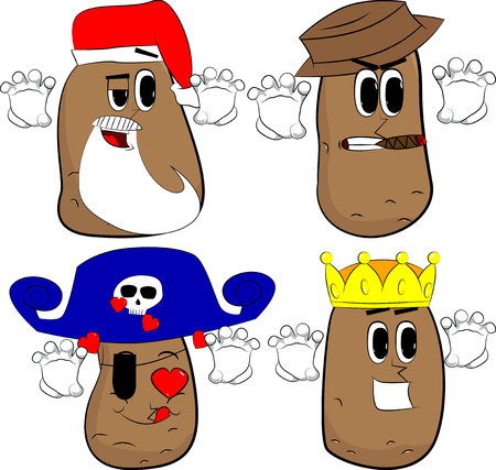 Potatoes is trying to scare you. Cartoon potato collection with costume faces. Expressions vector set.