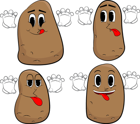 Potatoes is trying to scare you. Cartoon potato collection with happy faces. Expressions vector set.