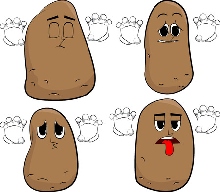 Potatoes is trying to scare you. Cartoon potato collection with sad faces. Expressions vector set.