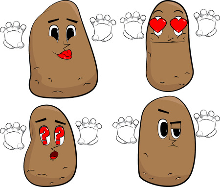 Potatoes is trying to scare you. Cartoon potato collection with various faces. Expressions vector set. Illustration