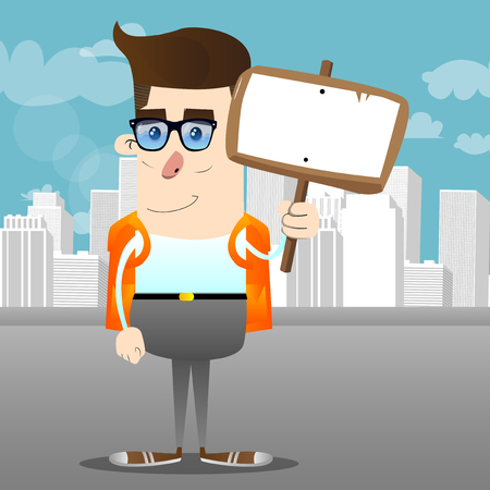 Schoolboy holding blank sign. Vector cartoon character illustration.