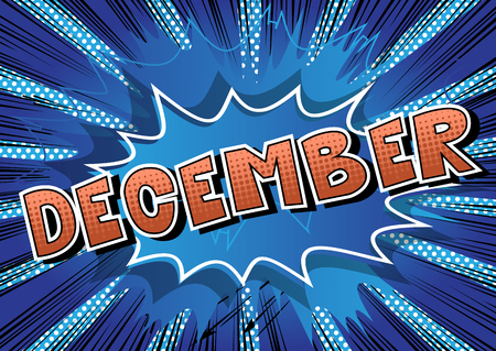December - Comic book style word on abstract background. Stok Fotoğraf - 106823712