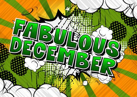 Fabuleux décembre - mot de style bande dessinée sur fond abstrait.