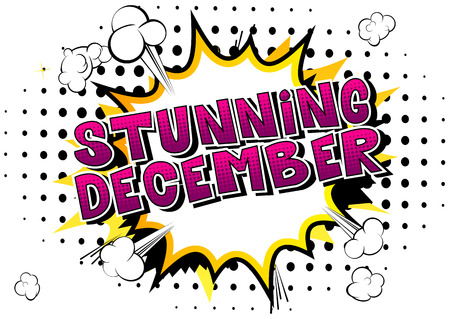 Stunning December - Comic book style word on abstract background. Çizim