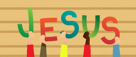 Diverse hands holding letters of the alphabet created the word Jesus. Vector illustration. Foto de archivo - 106823938