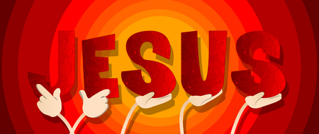 Diverse hands holding letters of the alphabet created the word Jesus. Vector illustration.