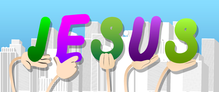 Diverse hands holding letters of the alphabet created the word Jesus. Vector illustration. Foto de archivo - 106823960