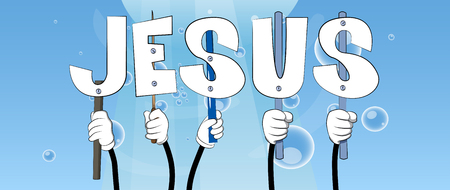Diverse hands holding letters of the alphabet created the word Jesus. Vector illustration. Foto de archivo - 106824805