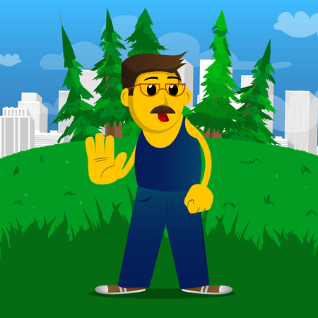 Yellow man showing deny or refuse hand gesture. Vector cartoon illustration.