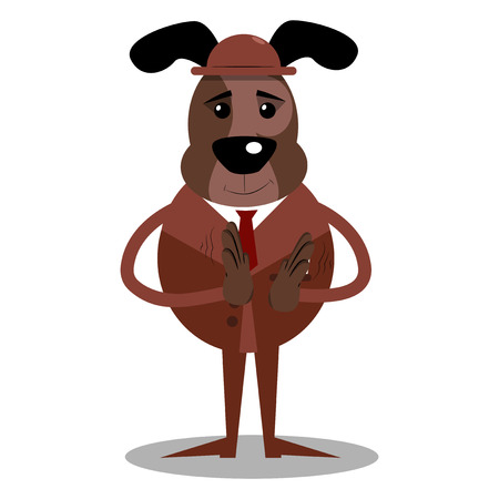 Cartoon vector illustrated business dog with clapping hands.