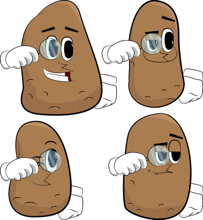 Potatoes holding a magnifying glass. Cartoon potato collection with happy faces. Expressions vector set. 向量圖像
