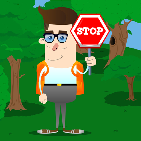 Schoolboy holding a stop sign. Vector cartoon character illustration.