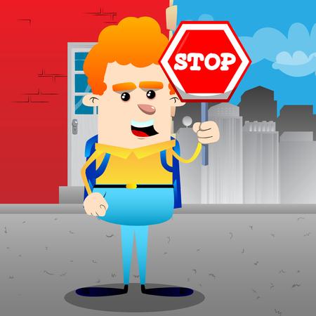 Colegial con una señal de stop. Ilustración de personaje de dibujos animados de vector.