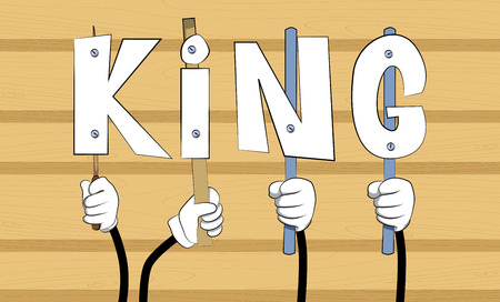 Diverse hands holding letters of the alphabet created the word King. Vector illustration.