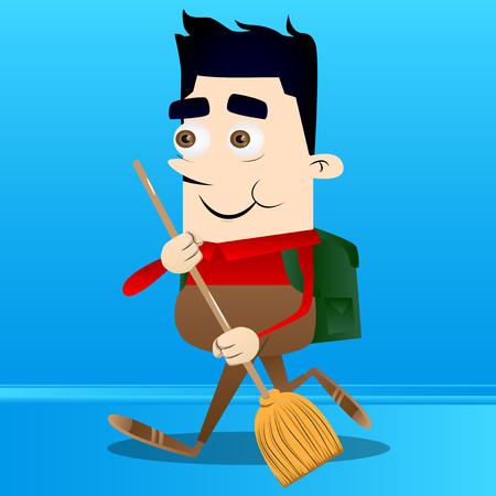 Schoolboy holding a broom. Vector cartoon character illustration.