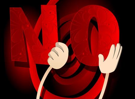 Verschiedene Hände, die Buchstaben des Alphabets halten, erzeugten das Wort Nr. Vektorillustration.