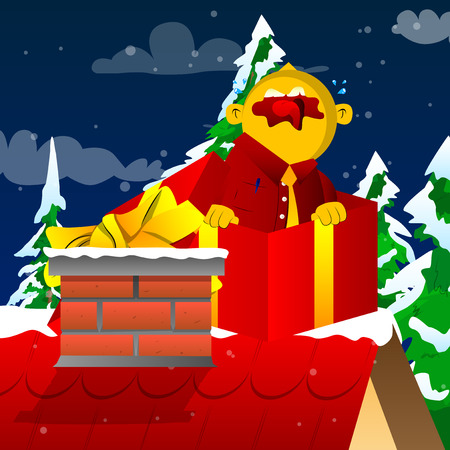 Yellow man in a gift box. Vector cartoon illustration.