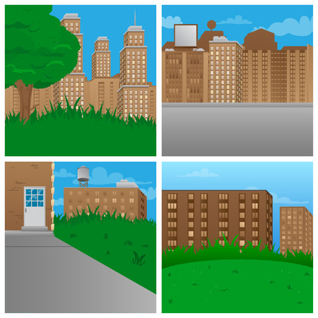 Set of vector illustrated cartoon city scenes.