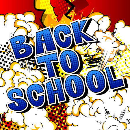 Back To School - Comic book style word on abstract background.