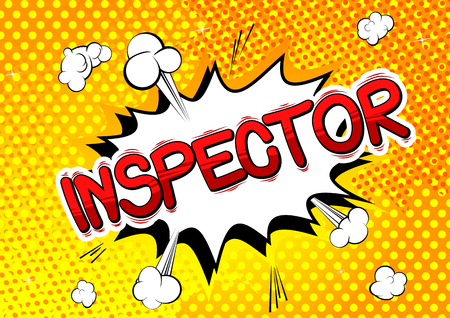 Inspecteur - Expression de style bande dessinée illustrée de vecteur. Vecteurs