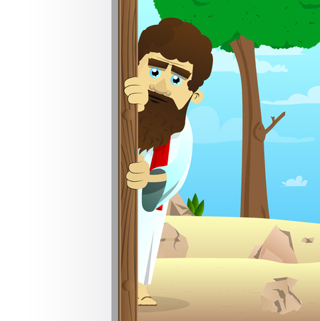 Vector illustrated cartoon Jesus with white banner for your message, standing in the desert. Illustration