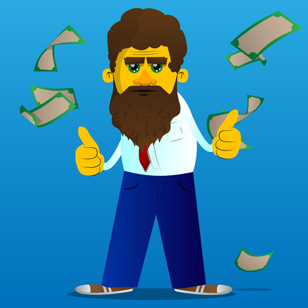 Yellow man making thumbs up sign with two hands. Vector cartoon illustration.