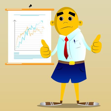 Hombre amarillo haciendo pulgares arriba firmar con las dos manos. Ilustración de dibujos animados de vector.