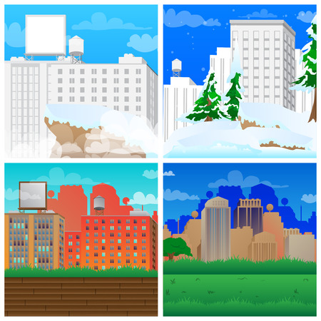 Set of vector illustrated cartoon city scenes, winter and summer.