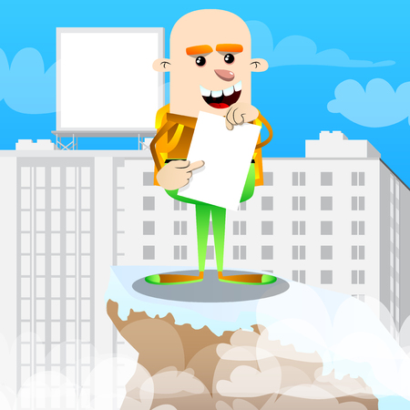 Schoolboy holding white paper and pointing at it. Vector cartoon character illustration.