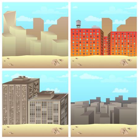 Set of vector illustrated cartoon city scenes in the desert.