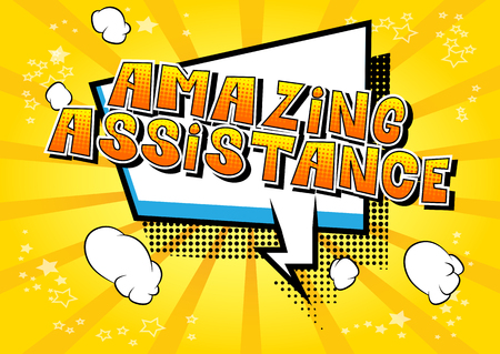 Amazing Assistance - Comic book style word on abstract background. Фото со стока - 106928637