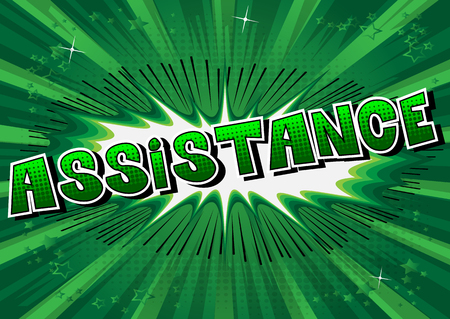 Assistance - Comic book style word on abstract background. Фото со стока - 106928638