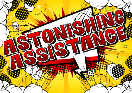 Astonishing Assistance - Comic book style word on abstract background. Фото со стока - 106928639