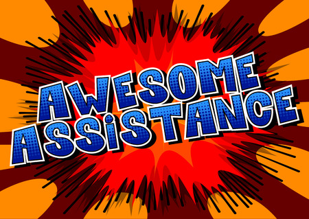 Awesome Assistance - Comic book style word on abstract background. Фото со стока - 106928640