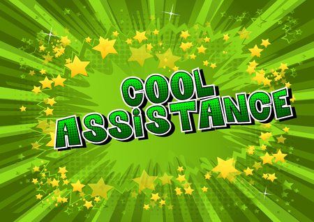 Cool Assistance - Comic book style word on abstract background. Фото со стока - 106928642