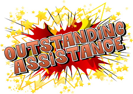 Outstanding Assistance - Comic book style word on abstract background. 일러스트