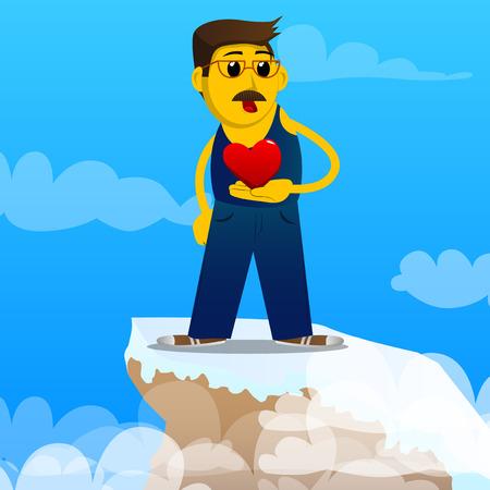 Yellow man holding red heart in his hand. Vector cartoon illustration. 일러스트