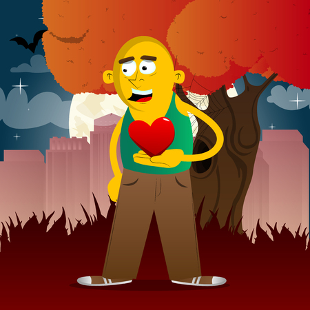 Yellow man holding red heart in his hand. Vector cartoon illustration.  イラスト・ベクター素材
