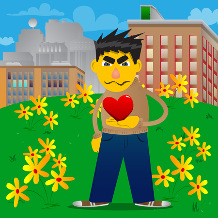 Yellow man holding red heart in his hand. Vector cartoon illustration. Illustration