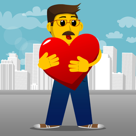 Yellow man hugging big red heart. Vector cartoon illustration.
