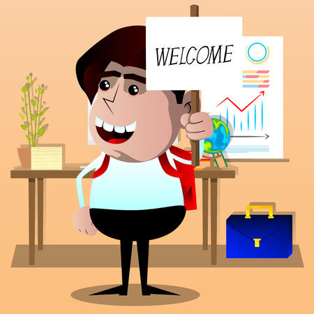 Schoolboy holding a banner with welcome text. Vector cartoon character illustration. 일러스트