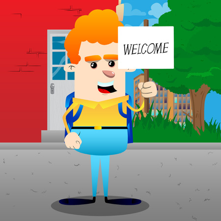 Schoolboy holding a banner with welcome text. Vector cartoon character illustration. Vectores