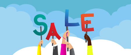 Diverse hands holding letters of the alphabet created the word Sale. Vector illustration.