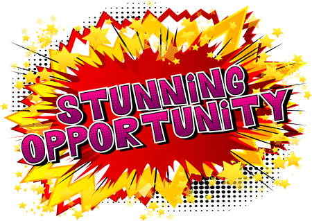 Stunning Opportunity - Comic book style word on abstract background. Ilustrace