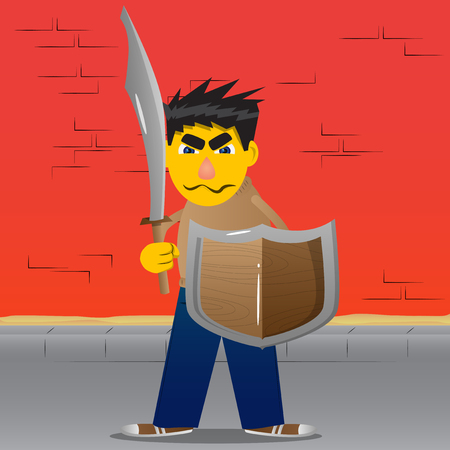 Yellow man holding a sword and shield. Vector cartoon illustration. Illustration