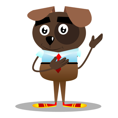 Cartoon illustrated business dog showing something with both hands, powerful hand gesture.