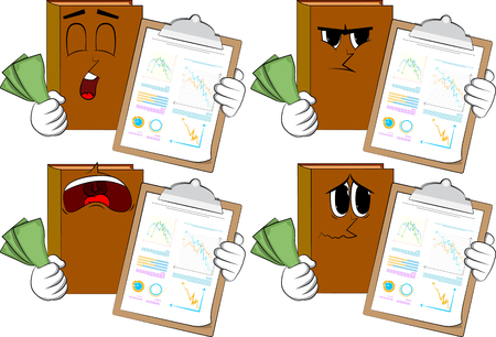 Books shows finance report and money bills. Cartoon book collection with sad faces. Expressions vector set.