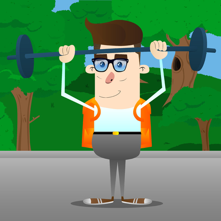 Schoolboy weightlifter lifting barbell. Vector cartoon character illustration. Stock Illustratie