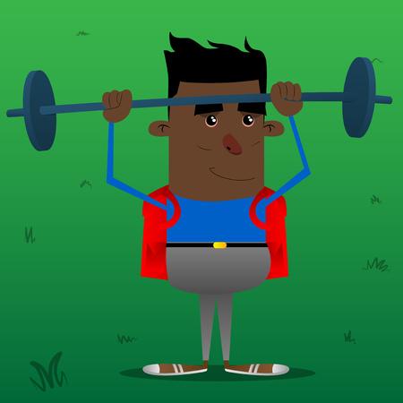 Schoolboy weightlifter lifting barbell. Vector cartoon character illustration. Illustration