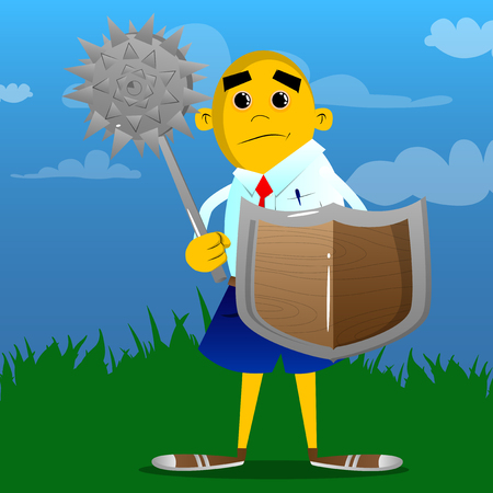 Yellow man holding a spiked mace and shield. Vector cartoon illustration.